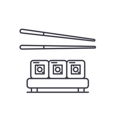 sushi restaurant line icon concept sushi vector image