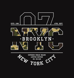 T-shirt with nyc camouflage vector