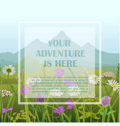 template card with greenery and mountains vector image