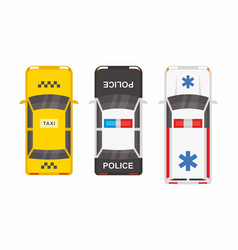 Top view police ambulance car and taxi vector