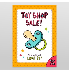 Toy shop sale flyer design with pacifier vector