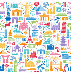Travel icons seamless texture vector