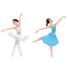 Two young ballerinas vector