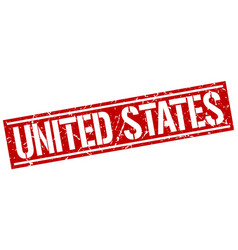 united states red square stamp vector image