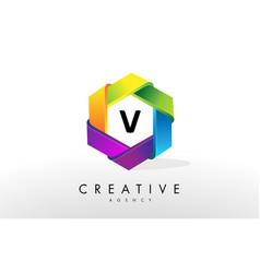 v letter logo corporate hexagon design vector image vector image
