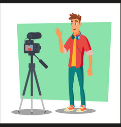 Video blogger cheerful young blogger man vector