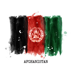 Watercolor painting flag afghanistan vector