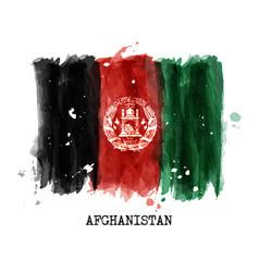 Watercolor painting flag of afghanistan vector