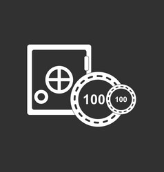 White icon on black background safe and chips vector