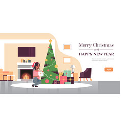 woman holding gift present box merry christmas vector image