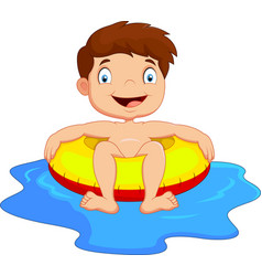 Young kid having fun in swimming pool vector