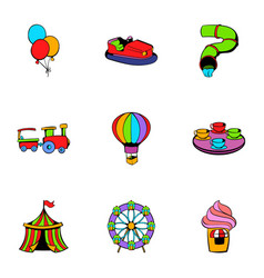 attraction icons set cartoon style vector image vector image