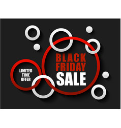 Black friday sale banner with red and white rings vector
