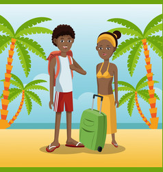couple afro american with backpack baggage palm vector image