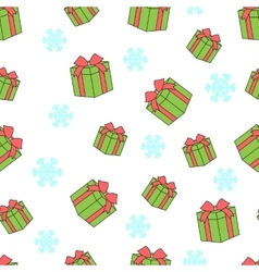 Seamless pattern of gift boxes and snowflakes vector