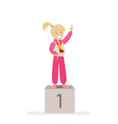 the girl took first place in sports award vector image