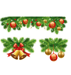 traditional christmas decorations and garlands vector image vector image