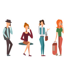 trendy flat people with phone gadgets group vector image vector image