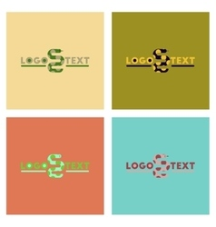 assembly flat icons nature snake logo vector image vector image