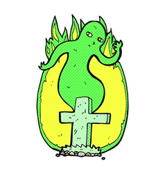 comic cartoon ghost rising from grave vector image