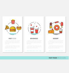 fast food business brochures linear vector image