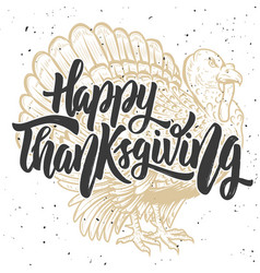 happy thanksgiving hand drawn lettering on vector image vector image