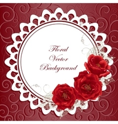 Round frame with roses vector image vector image