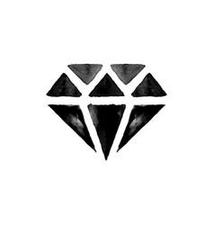 black watercolor diamond vector image