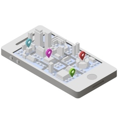 City plan isometric on smartphone vector image vector image