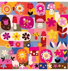 cute flowers and mushrooms nature pattern vector image