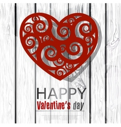 Red handmade heart on wooden background Valentines vector image vector image