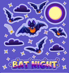 stickers for children in the form bats vector image vector image
