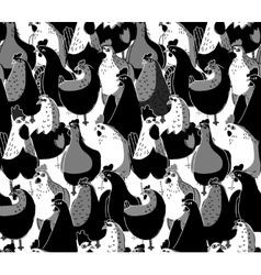 Birds chicken big group black and white seamless vector image vector image