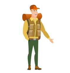 caucasian traveler with hand in his pocket vector image vector image