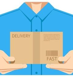 Delivery courier postal man delivering package vector image