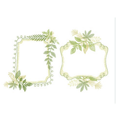 hand drawn doodle frame with green plant leaves vector image vector image