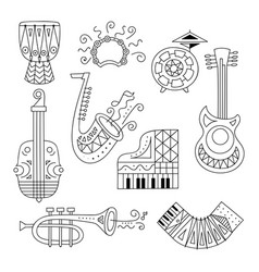 hand drawn doodle musical instruments set vector image