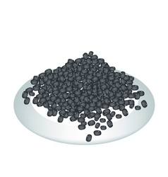 A Lot of Black Beans on White Plate vector image