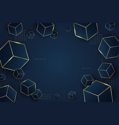 Abstract flying blue box on dark blue background vector