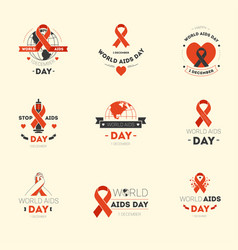 aids day isolated icons disease fighting charity vector image