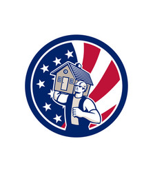 american house removal usa flag icon vector image