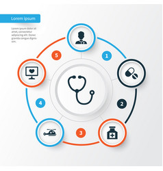 Antibiotic icons set collection of painkiller vector