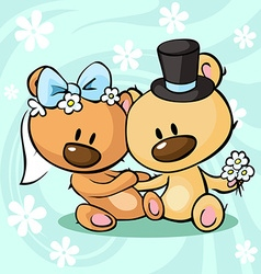 Bears in wedding dress sitting on abstract vector image