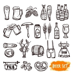 Beer black doodle icons set vector image