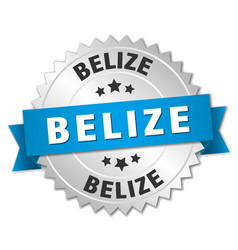 Belize round silver badge with blue ribbon vector
