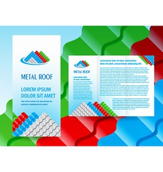 brochure folder roof metal profile colored design vector image