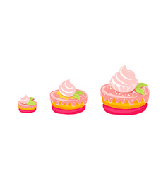 cakes sizes dessert pastry different fancy vector image