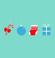 candy cane christmas ball sock gift box hanging vector image