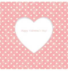 Card with heart shape on Polka dot background vector