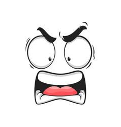 Cartoon angry face furious yelling emoji vector